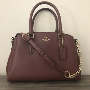 Coach Mini Sage Wine leather crossbody Bag NWT
